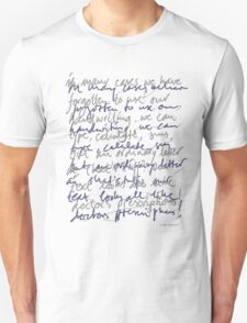 Handwritten (light shirt) Unisex T-Shirt