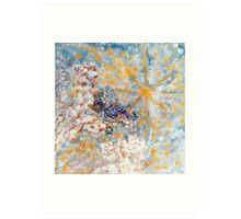 Bluebirds in the Snow Designer Art by Marie-Jose Pappas Art Print