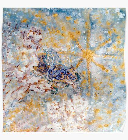 Bluebirds in the Snow Designer Art  Poster