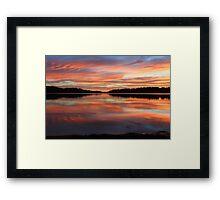 Red Sunrise Reflections at Narrabeen, Australia seascape landscape Framed Print