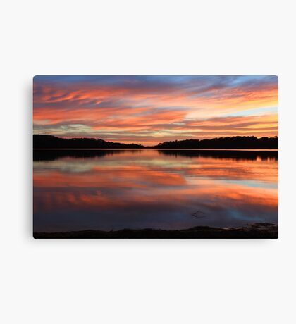 Red Sunrise Reflections at Narrabeen, Australia seascape landscape Canvas Print