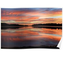 Red Sunrise Reflections at Narrabeen, Australia seascape landscape Poster
