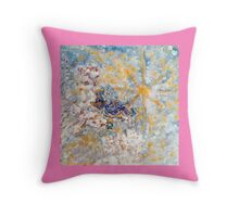 Bluebirds in the Snow Designer Art  Throw Pillow