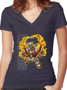 Flaming Fists Women's Fitted V-Neck T-Shirt