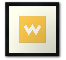 Wario Symbol - Super Smash Bros. (white) Framed Print