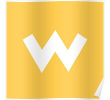 Wario Symbol - Super Smash Bros. (white) Poster