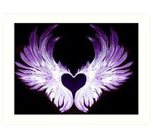 Purple Angel heart wings 2 Art Print