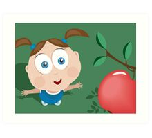 Girl wants an apple! Art Print