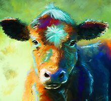 Colourful Calf Painting by Michelle Wrighton