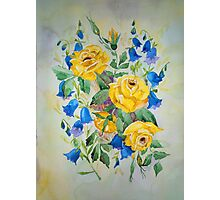Blue bell and Yellow Roses Photographic Print