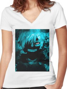 Tokyo Ghoul - Cyan Women's Fitted V-Neck T-Shirt