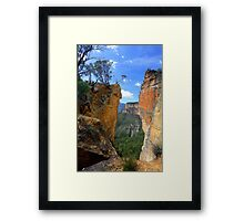 Burramoko Head and Hanging Rock in NSW Blue Mountains Australia landscaps Framed Print