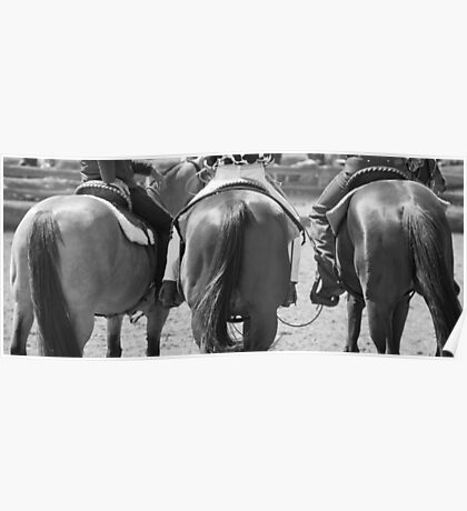Rodeo Bums - Black and White Poster