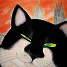 Travelling Cat Winking in Cologne by HiromiCat