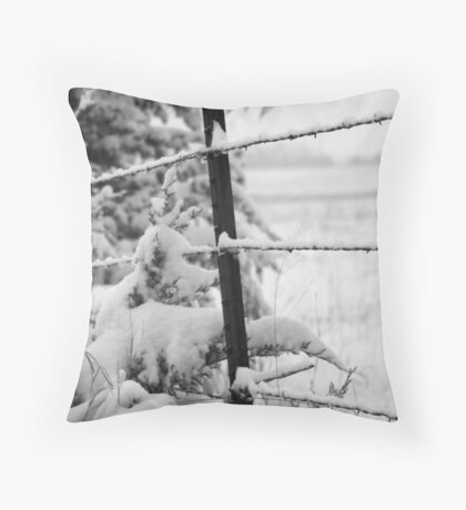 Snow on the fence Throw Pillow