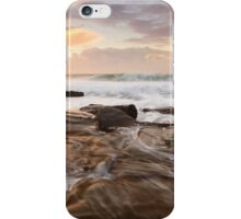 Ocean surf and overflows at sunrise Forresters Beach Australia seascape iPhone Case/Skin