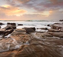 Ocean surf and overflows at sunrise Forresters Beach Australia seascape by Leah-Anne Thompson
