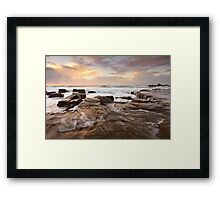 Ocean surf and overflows at sunrise Forresters Beach Australia seascape Framed Print