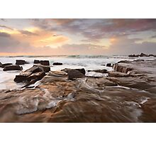 Ocean surf and overflows at sunrise Forresters Beach Australia seascape Photographic Print