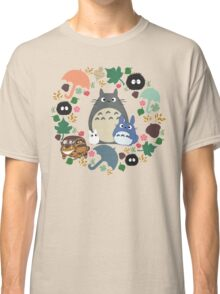 My Neighbor Totoro Wreath - Anime, Catbus, Soot Sprite, Blue Totoro, White Totoro, Mustard, Ochre, Umbrella, Manga, Hayao Miyazaki, Studio Ghibl Classic T-Shirt
