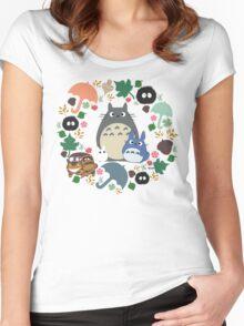 My Neighbor Totoro Wreath - Anime, Catbus, Soot Sprite, Blue Totoro, White Totoro, Mustard, Ochre, Umbrella, Manga, Hayao Miyazaki, Studio Ghibl Women's Fitted Scoop T-Shirt