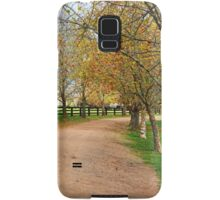 Deciduous tree lined country road in Autumn Samsung Galaxy Case/Skin