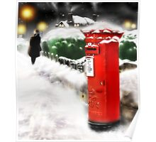 Traditional Christmas Illustration: Red Post Box in Snow [Soft Mix] Poster