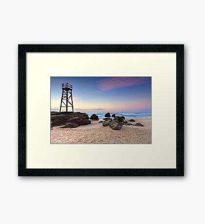 Shark tower at Redhead beach Australia sunrise seascape Framed Print