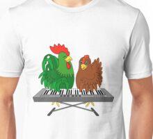 Half chicken play piano. Unisex T-Shirt