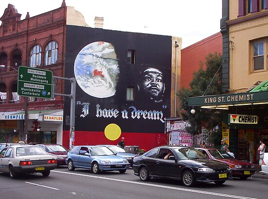 I have a Dream ..... mural in Kings Street Newtown by Juilee  Pryor