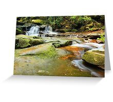 Tranquility waterfalls and moss covered rocks Greeting Card