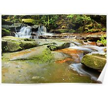 Tranquility waterfalls and moss covered rocks Poster