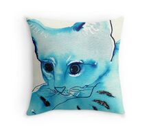 Fog Cat Throw Pillow