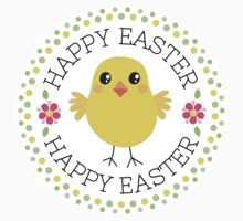 Happy Easter sticker with cute chicken inside green and yellow polka dot border by MheaDesign