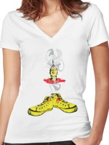 Something happens and I'm head over heels. Women's Fitted V-Neck T-Shirt