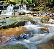 Waterfalls and little stream Australia landscape by Leah-Anne Thompson