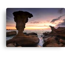 Sunrise and eroded rocks Hargraves Beach Noraville seascape Canvas Print
