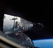 Gemini 7 spacecraft as seen from Gemini 6 in orbit around the earth - Historic Photo by verypeculiar