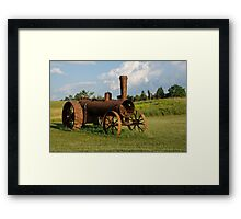 Antique And Rusty - a Vintage Iron Tractor on a Farm Framed Print