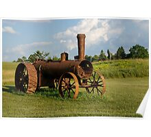 Antique And Rusty - a Vintage Iron Tractor on a Farm Poster