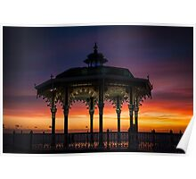 Brighton Bandstand Sunset Poster