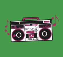 RETRO awesome hot pink Cassette Player Kids Tee