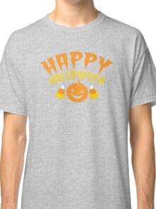 HAPPY HALLOWEEN! with super cute candy corn and pumpkin Classic T-Shirt