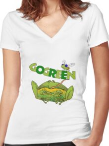 Funny Ecology Go Green Frog Women's Fitted V-Neck T-Shirt