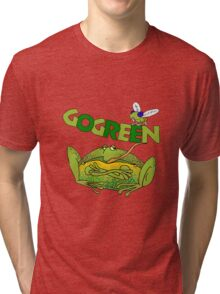 Funny Ecology Go Green Frog Tri-blend T-Shirt