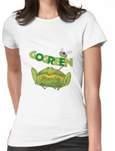 Funny Ecology Go Green Frog Womens Fitted T-Shirt