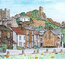 Graphite and Coloured Pencil Drawing of  Richmond, Yorkshire  by Dennis Melling