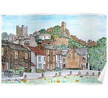 Graphite and Coloured Pencil Drawing of  Richmond, Yorkshire - all products Poster