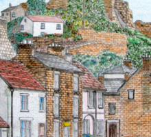 Graphite and Coloured Pencil Drawing of  Richmond, Yorkshire - all products Sticker