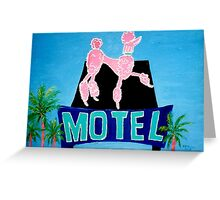 The Pink Poodle Motel Sign [oil ,acrylic,texture paint, painting] Greeting Card